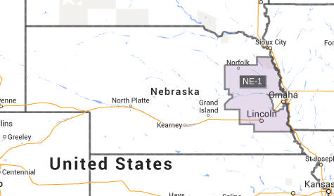Highlighted is Nebraska's 1st District, but it also illustrates the scope of all three districts. District 2 is the area carved out around Omaha. District 3 is immense.