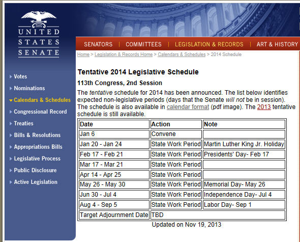 2014 Senate Calendar