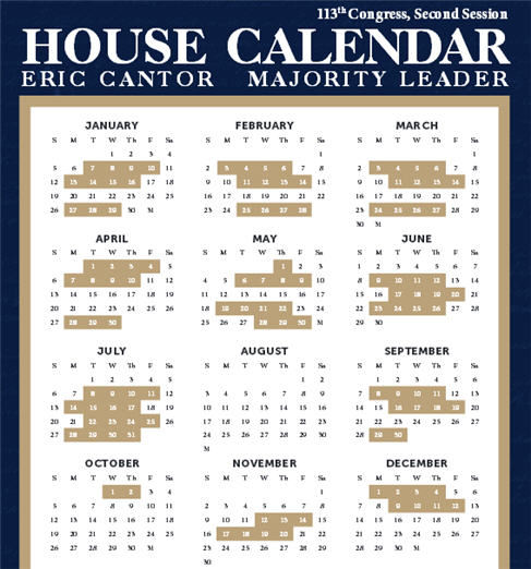 The 2014 work schedule for the U.S. House of Representatives.