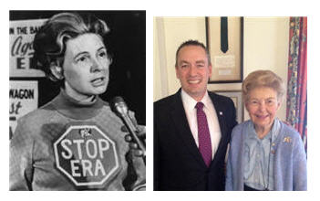 Anti-feminist Phyllis Schlafly in her 1970s heyday, and today with Shane Osborn.