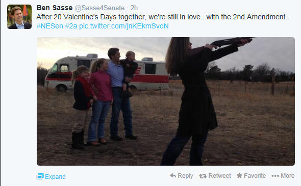 Nebraska Senate candidate Ben Sasse and his wife celebrated Valentine's Day this year with a romantic evening of gunfire -- an event they shared on Twitter.